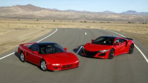 1991 Red Acura NSX and 2020 Red Acura NSX