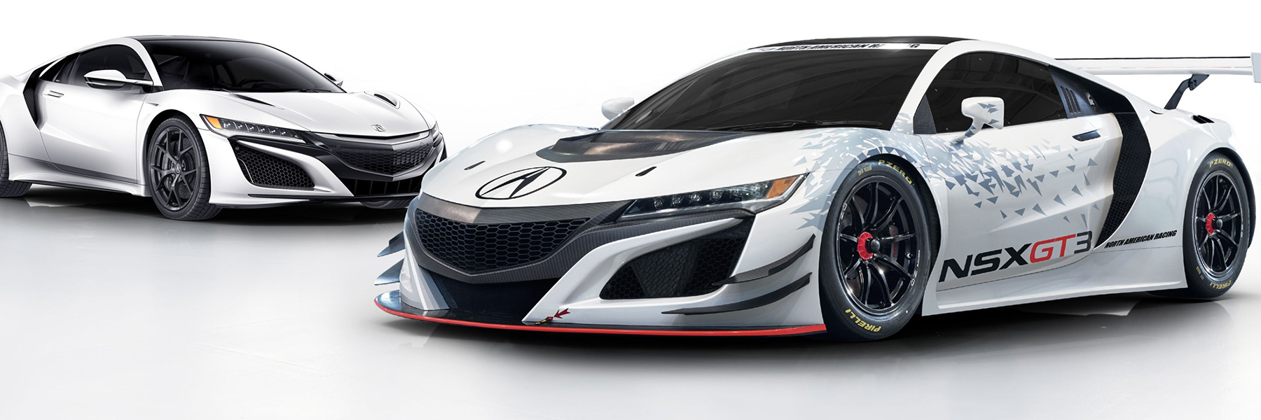 White 2018 Acura NSX and Acura NSX GT3